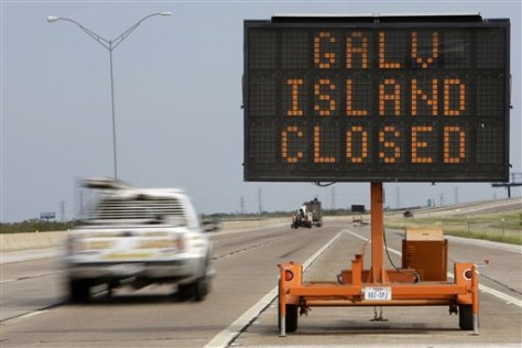 Image: Stay away from Galveston sign