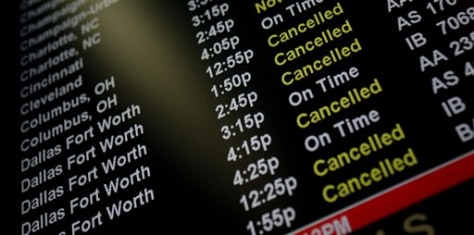 Image: Airport sign with canceled flights