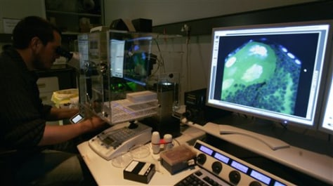 Image: Technician uses an electron microscope