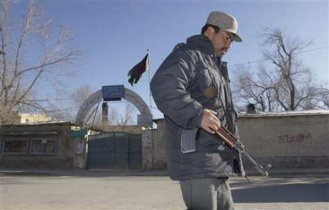 Image: Afghanistan school guarded