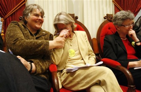 Image: Gay marriage advocate holds back tears