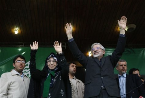 Image: Mir Hossein Mousavi, right, with his wife, Zahra Rahnavard