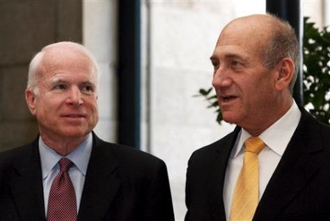 IMAGE: John McCain,and Ehud Olmert