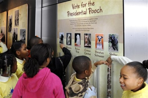 Image: Children vote for Obama dog
