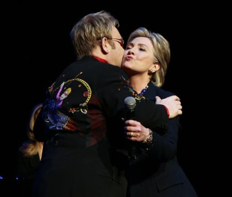 IMAGE: Sen. Hillary Clinton and Elton John