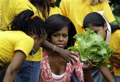 Image: First lady Michelle Obama with students
