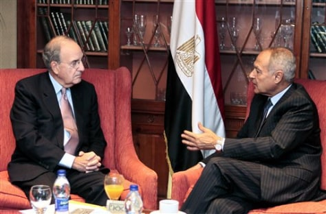 Image: U.S. Mideast envoy George Mitchell, left, meets Sunday with Egyptian Foreign Minister Ahmed Aboul Gheit