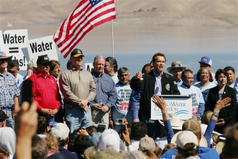 Image: Schwarzenegger at water protest