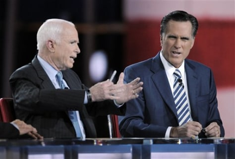 Image: John McCain and Mitt Romney debate