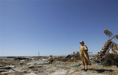 Image: Flattened area along Texas beach