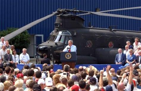 Image: Presiden Bush at Chinook factory