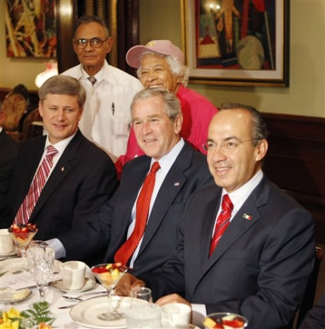 IMAGE: George W. Bush, Stephen Harper and Felipe Calderon