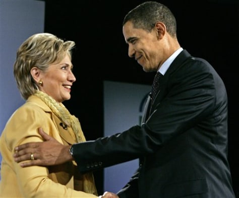 IMAGE: Sens. Hillary Clinton, and Barack Obama