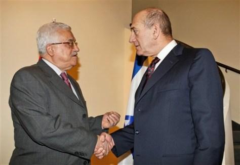 Image: Palestinian President Mahmoud Abbas and Israeli Prime Minister Ehud Olmert