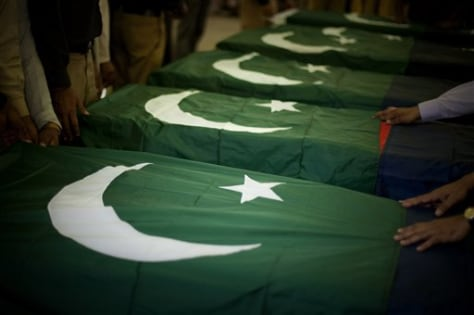 Image: Coffins of slain Pakistani police