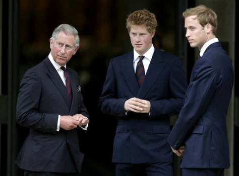 Image: Princes Charles, Harry, William