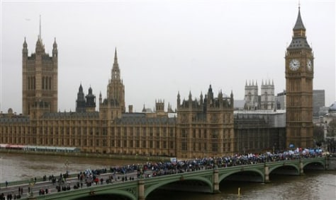 Image: Climate activists outside Britain's Houses of Parliament