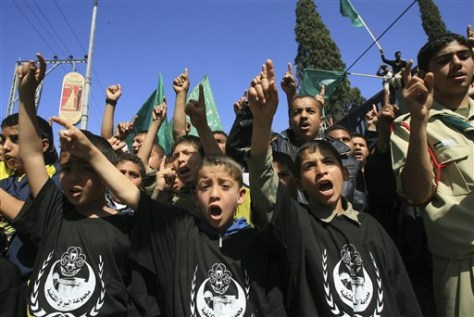 IMAGE: YOUNG HAMAS SUPPORTERS PROTEST