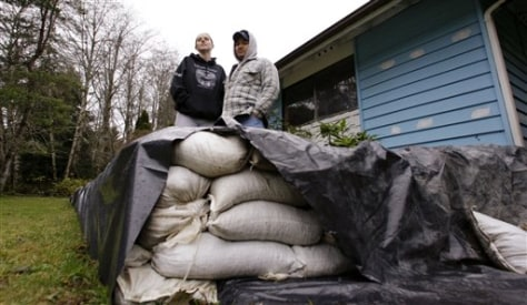 Image: Sandbags around home on reservation