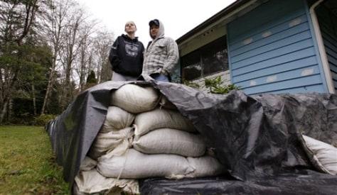 Image: Sandbags around home on reservation