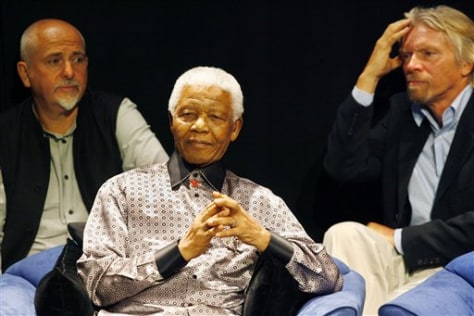 IMAGE: MANDELA WITH PETER GABRIEL AND RICHARD BRANSON