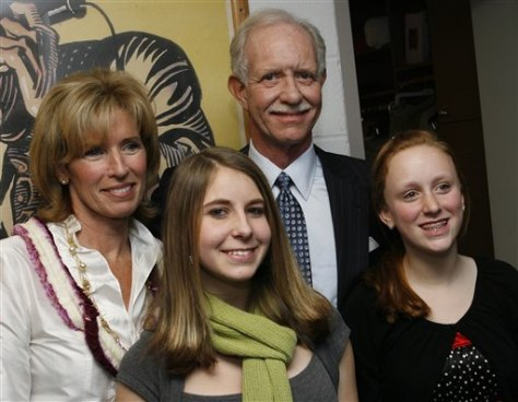 "Image: Chesley ""Sully"" Sullenberger, his wife Lorrie and their two daughters Kate and Kelly."