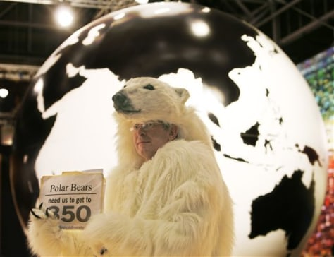 Image: Activist in polar bear suit