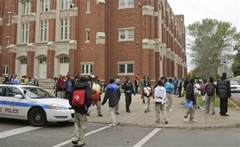 Image: Students leave classes at Christian Fenger Academy High School