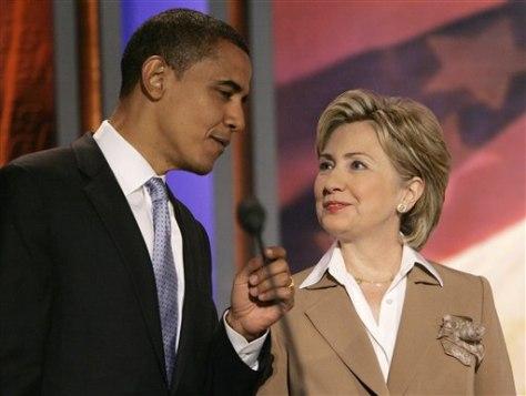 IMAGE: Sens. Barack Obama and Hillary Clinton
