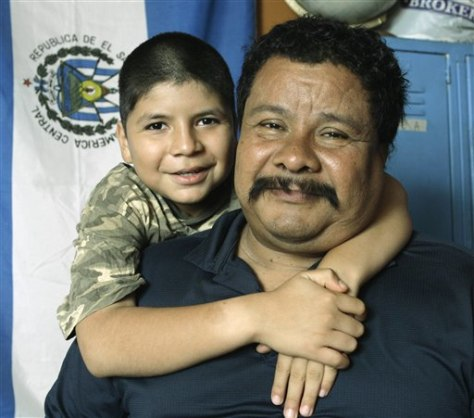 Image: Immigrants from El Salvador Marcos Antonio Marquez, 48, and his son, Marcos Marquez Solano, 10.