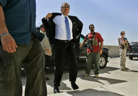 Image: Blackwater security contractors guard the former U.S. ambassador to Iraq, Zalmay Khalilzad