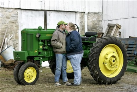 IMAGE: ENGAGED COUPLE AND TRACTOR