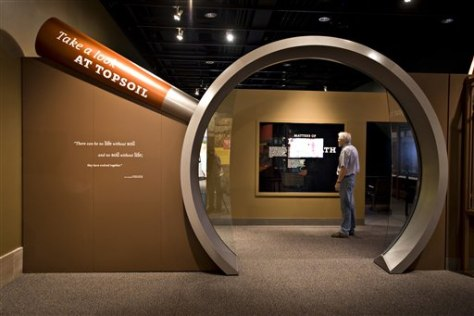 "Image: The ""Dig It"" exhibit at the Smithsonian's National Museum of natural History in Washington explores the mysterious and complex world of soil."