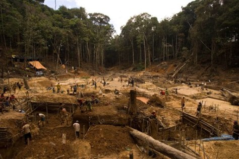 IMAGE: GOLD MINERS AT WORK IN AMAZON