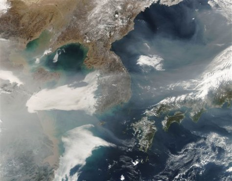 Image: Satellite photo of brown haze