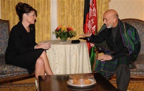 Image: Gov. Sarah Palin and Afghan President Hamid Karzai