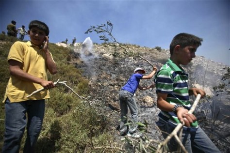 Image: Palestinian youths put out a fire