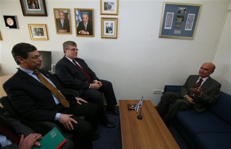 Image: Deputy Foreign Minister, Danny Ayalon, left, meets with Ambassador Ahmet Oguz Celikkol, right