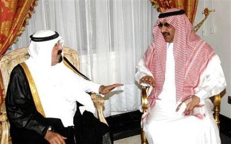 Image: King Abdullah of Saudi Arabia, left, meets Prince Muhammad bin Nayef