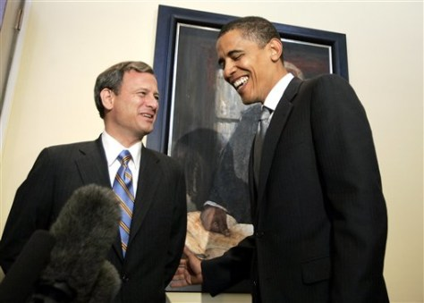 Image: Then-Supreme Court Chief Justice nominee John Roberts, left, meets with then-Sen. Barack Obama, D-Ill.
