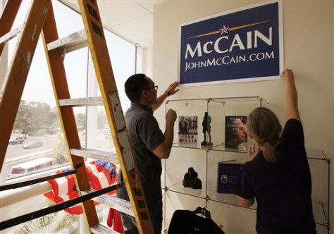 Image: McCain volunteers Dustin Thai and Alexis Haftrani