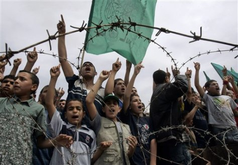 Image: Hamas supporters protest in Gaza Strip