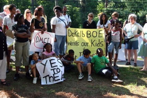 Image: Residents protest a proposed Marine Corps academy in Atlanta