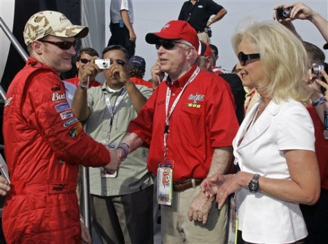 Image: Sen. John McCain, his wife Cindy and NASCAR driver Dale Earnhardt Jr.