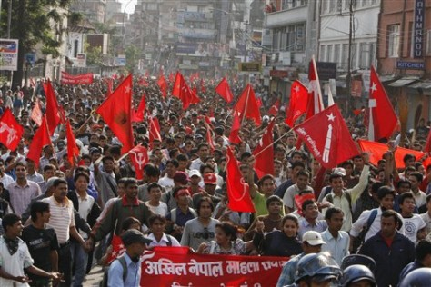 Image: Supporters of the Communist Party of Nepal