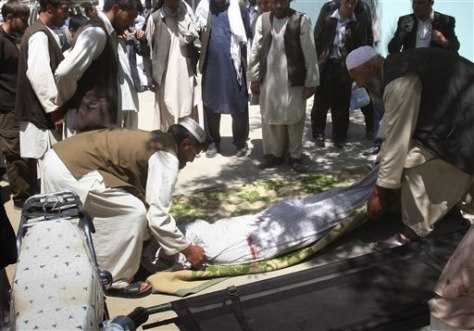 Image: Relatives wrap the body of a civilian