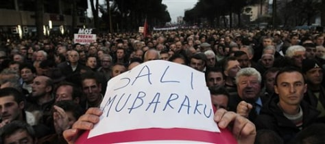 Image: Thousands of opposition protesters participate in an anti-government rally Friday in Tirana, Albania