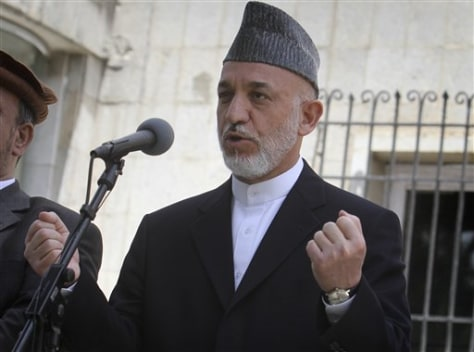 Image: Afghan President Hamid Karzai speaks Thursday at the presidential palace in Kabul, Afghanistan