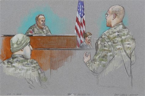 Image: Defense attorney Lt. Col. Kris Poppe, right, speaks to Investigating Officer Col. James L. Pohl, center, while Maj. Nidal Malik Hasan, left, listens