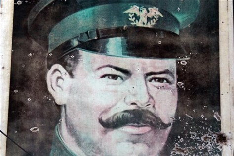 Image: Bullet-riddled portrait of Mexican revolutionary hero Gen. Francisco Villa